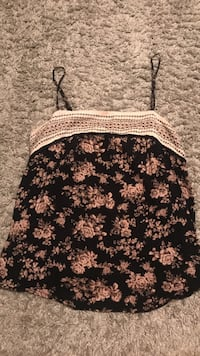 black and brown floral spaghetti strap top