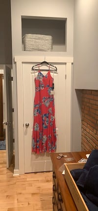 Lulus Pink and Blue Floral Maxi Dress