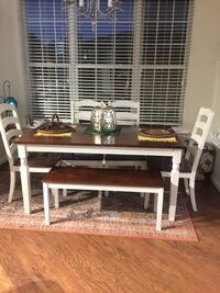 rectangular white and brown wooden dining table with four chair set Fairfax, 22033