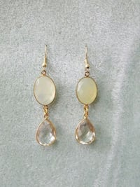 pair of gold-colored clear gemstone drop earrings Arlington Heights, 60004