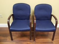 two brown wood-frame blue fabric armchairs Davie, 33330