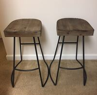 Two black metal base brown wooden bar stools Germantown, 20874