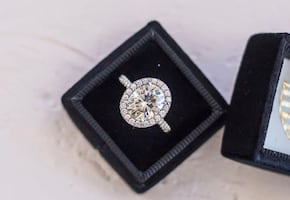3 Carat Oval Engagement Ring with Platinum Wedding Band