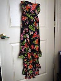Hawaiian floral beautiful black green orange dress short front long back strapless
