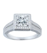 Princess Cut Halo Ring with Swarovski Elements Crystals (size 5) Toronto