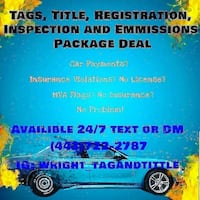 Tags Title Registration No Money Needed upfront 100 percent official IG@wright_tagandtitle Arlington, 22206