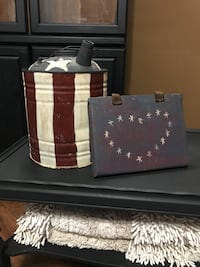 Primitive American Flag Watering Tin w/Wooden American Decor Chillicothe, 45601