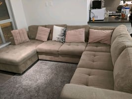 C-sectional couch and coffee table