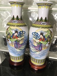 two white-and-multicolored ceramic vases Toronto, M2R 2H8