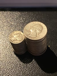 Silver Coins. Quarters and Dimes