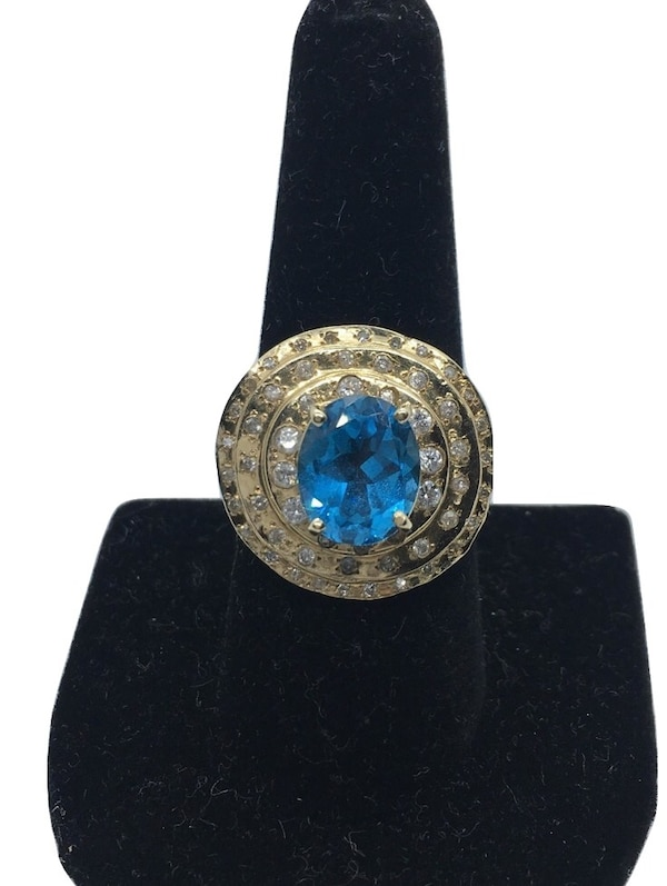 14k Topaz/Diamond ring