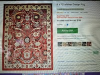9x12 area rug, with no slip pad