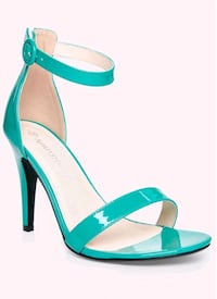 teal and white open toe ankle strap pumps Cambridge, N1R 1P4