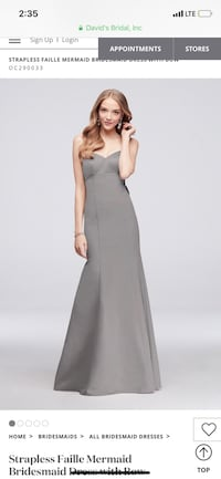 Grey mermaid bridesmaid dress size 8. Worn once prefect condition never been altered.  Gaithersburg, 20886
