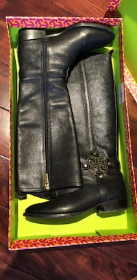 pair of black leather knee-high boots with box Vaughan, L4H 3E5