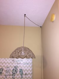Floral pendant lamp made of metal covered with rope Cypress, 77429