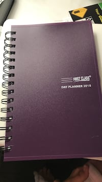 Purple and black spirals day planner first class notebook 2018 daily appoitments dates