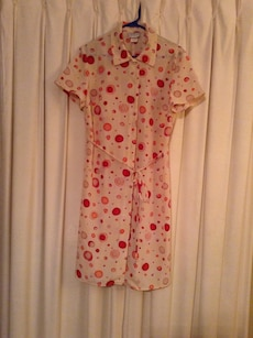 pink and red dotted short sleeve dress