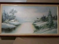 brown wooden framed painting of river Calgary, T3B 2K6