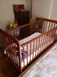 baby's brown wooden crib Singapore, 760395