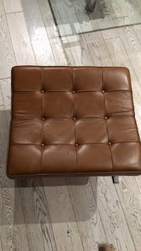 two brown leather tufted ottoman New York, 10033