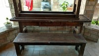 Rustic outdoor table w/ two benches