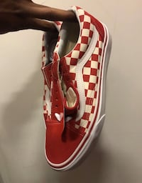 Pair of red-and-white checkerboard vans old skool sneakers Toronto, M1E
