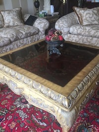 Set of 3 coffee table, wood and glass.  Montréal, H9H 1A9