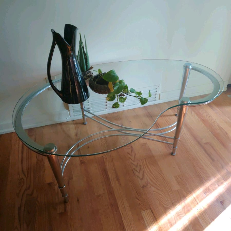 Vintage MCM Retro Chrome Glass Table Atomic kidney bean shape