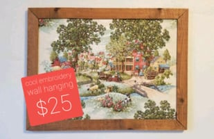 Embroidered Wall Hanging - Vintage