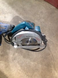 blue and gray Makita circular saw Calgary