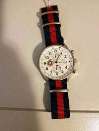 round silver chronograph watch with black and red  Surrey, V4N 5M2