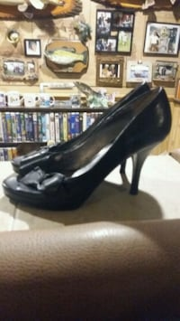 pair of black leather platform stilettos 549 km