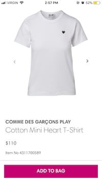 T-shirt : comme play white T-shirt with red heart (AUTHENTIC) Calgary, T2L 0A3