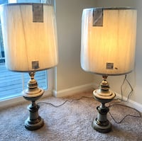 two brown wooden base white shade table lamps Potomac, 20854