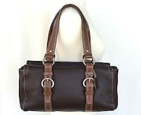 Coach dark brown cowhide leather zip satchel handbag