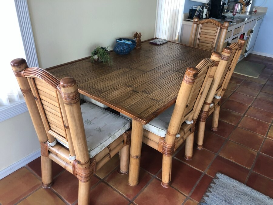 Bamboo Table, Chairs, And Coffee Tables