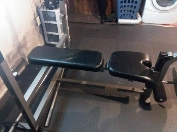 black and gray bench press