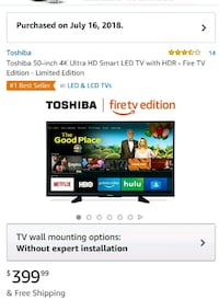 Toshiba Fire Edition Smart TV 50 in 4K Ultra HD San Antonio, 78245