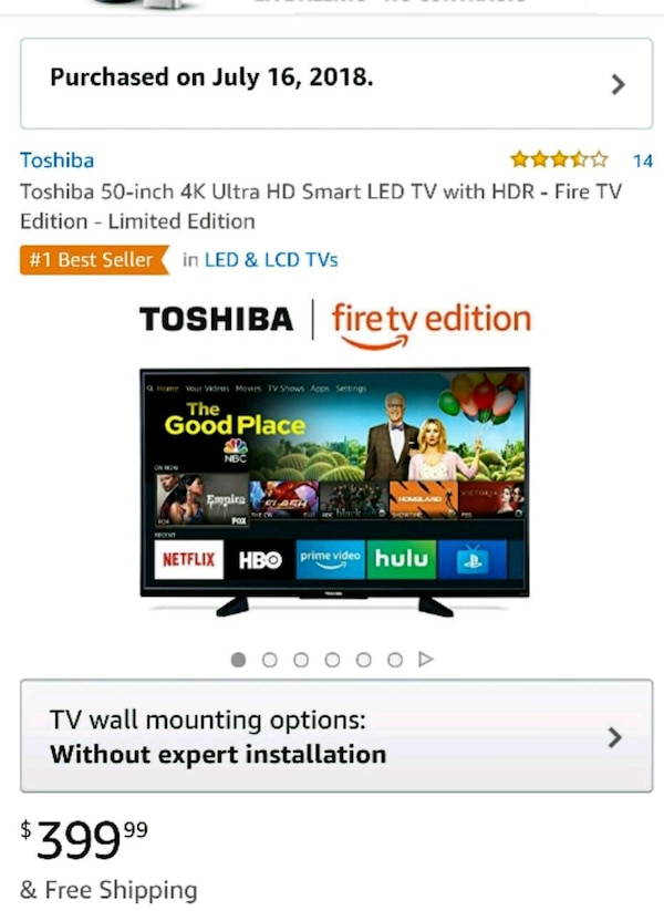 Toshiba Fire Edition Smart TV 50 in 4K Ultra HD