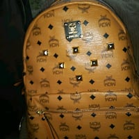 brown MCM leather backpack with buckle Moreno Valley, 92557