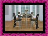 Counter height glass dining table with 4 chairs Cheverly