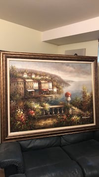 brown wooden framed painting of house Laval, H7K 3M7
