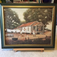 brown wooden framed painting of house Damascus, 20872