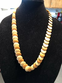 brown and white beaded necklace 2357 mi