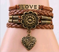 Brown Leather Made with Love Bracelet  Brampton, L6T 3L5