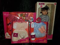 "Our generation retro  18"" doll Peggy, 2 outfits, and one canoeing accessories pack. All new, never opened. Pulaski, 39152"