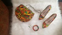 Kente Print Shoulder Purse and High Heel Shoe Set