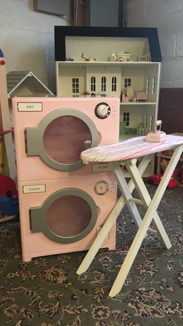 Used Pbk Pottery Barn Kids Pink Washer And Dryer Toy Ironing Board Kitchen For In Hamilton