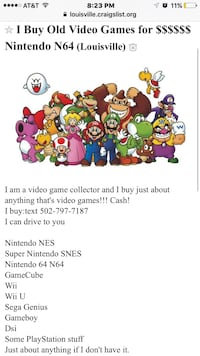 Nintendo N64 video games Louisville